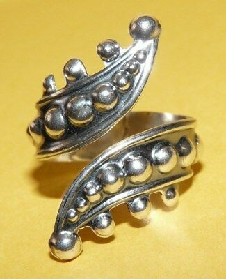 "~Vtg~Signed~Taxco~Mexico~Jds~""925""~Sterling~Silver~Beaded~Bypass~Ring~Size 9.5~"
