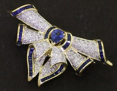 Heavy 14K YG elegant 3.0CT diamond & Blue sapphire ribbon brooch/pendant