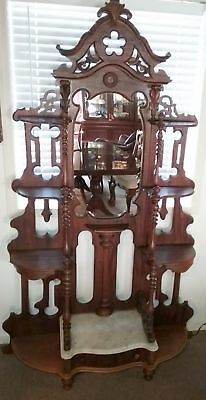 Rosewood Original Finish Victorian Mirror Etagere With Marble Top Drawer