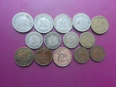 14 Old Pfennig  Coins Of Germany. 1874 - 1938. Fine.