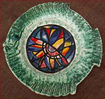 Decorative Fish Plate Quiberon Stained Glass Quimper 1994