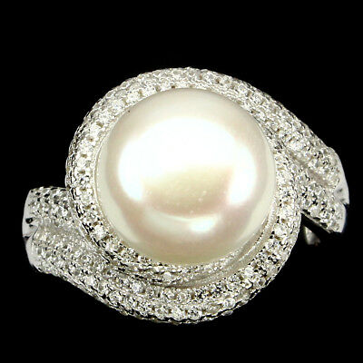 Gorgeous Round 12mm Creamy White Pearl Cubic Zirconia 925 Sterling Silver Ring 7