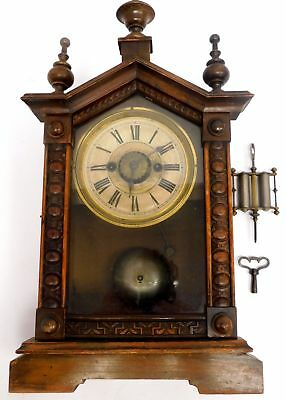 Vintage Wooden Wind Up Mantel Clock With Bell Alarm - R06