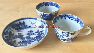 antique QIANLONG CHINESE porcelain blue & white handpainted CUPS & SAUCER