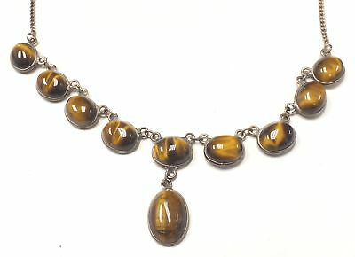 925 STERLING SILVER Tigers Eye Cabochons Stone Necklace, 12.91g - G13