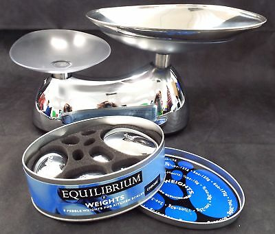 EQUILIBRIUM Chrome Kitchen Scales With Weights Boxed & Unused - D14