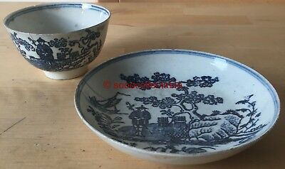 c1800 ENGLISH pearlware BLUE & WHITE CHINESE MAN with STAFF TEABOWL & SAUCER