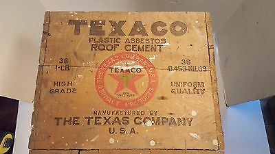 Very Rare TEXACO PLASTIC ASBESTOS ROOF CEMENT 36-1 LB Wooden Shipping Crate