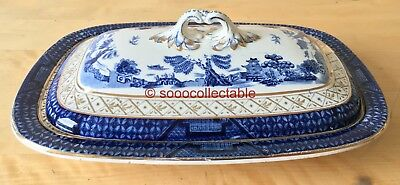 BOOTHS BLUE & WHITE REAL OLD WILLOW LIDDED BACON or SERVING DISH double WELL