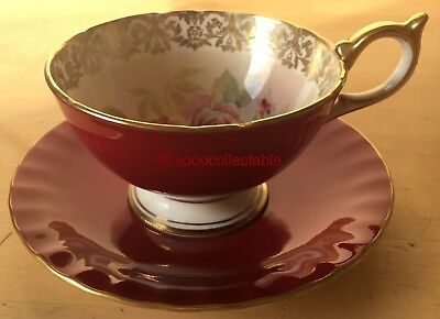 signed AYNSLEY porcelain PINK ROSES pattern CRIMSON GROUND CUP & SAUCER DUO