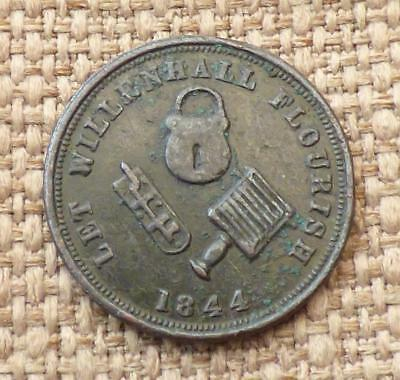 WILLENHALL (Coventry) FARTHING TOKEN 1844 - RUSHBROOKE'S Family Tea & Grocery