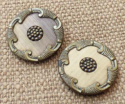 2x Antique METAL SCROLLWORK & CELLULOID BUTTONS - Marcasite Centres