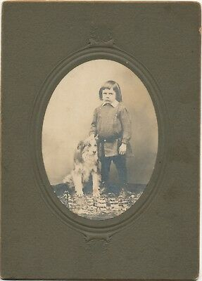Cabinet Photo of Pouting Young Boy with funny haircut & his cute dog! ADORABLE!