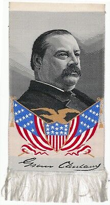 Democrat Grover Cleveland Campaign Silk Ribbon from 1884 Election. MINT!