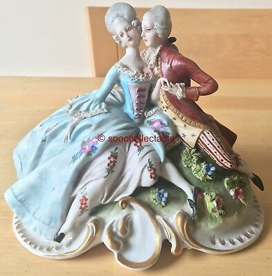 naples CAPODIMONTE porcelain MAN & WOMAN LOVERS with dresden lace FIGURINE GROUP