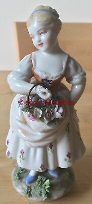 L FABRIS CAPODIMONTE porcelain YOUNG GIRL LADY with BASKET of FLOWERS FIGURINE