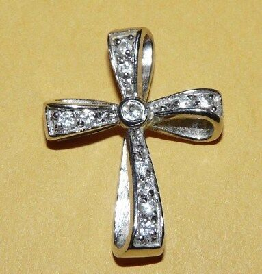 "~Vtg~""925""~Sterling~Silver~&~Diamonds~""cross~Crucifix""~Ornate~Pendant~Signed~Fas"