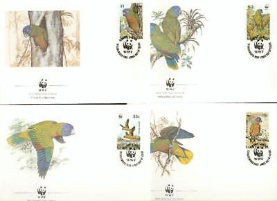 Saint Lucia 1987 set on 4 FDC parrot Papagei WWF eh43