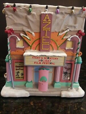 2004 THE SIMPSONS CHRISTMAS VILLAGE LIGHTED AZTEC MOVIE HOUSE new