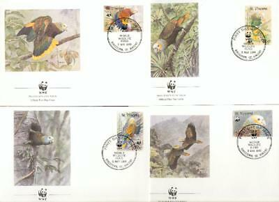 St.Vincent set on 4 FDC parrot Amazon Papagei WWF eh16