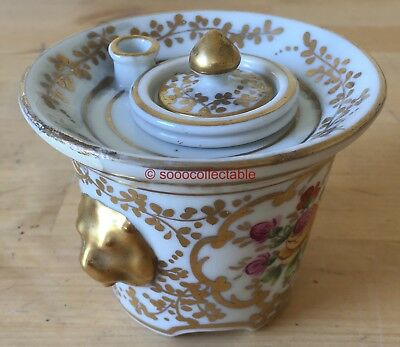 antique porcelain SEVRES style COALPORT INK POT & PEN STAND with PINK ROSES