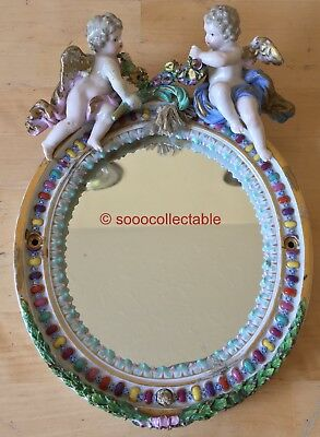 antique porcelain MEISSEN CHERUBS with ENCRUSTED FLOWERS FIGURAL MIRROR