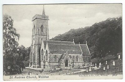 Early Postcard St Audries Church in Williton Village Somerset