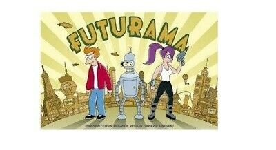 FUTURAMA ~ PRESENTED IN DOUBLE VISION ~ 24x36 CARTOON POSTER