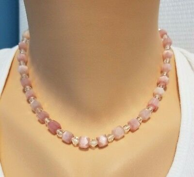 Vintage Pink Satin glass square bead necklace deco