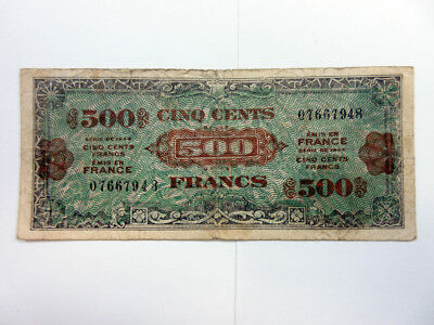 France Allied Military Currency 500 Francs 1944 P-119 Fine Forbes Litho Mfg.