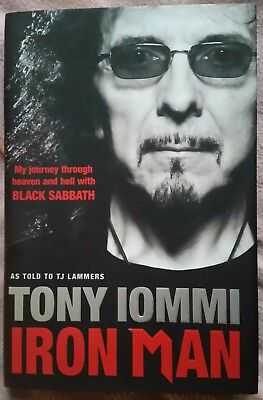 """Tony Iommi Autograph """"iron Man"""" Hand Signed 1St Ed' Autobiography Book + Proof"""