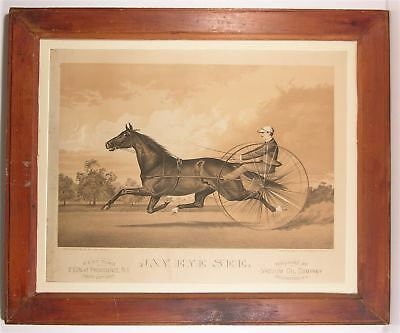 1884 Vacuum Oil Company Horse Racing Subject Advertising Sign Stone Lithograph