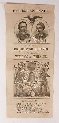 1876 Rutherford Hayes / William Wheeler Illustrated Presidentialcampaign Ballot