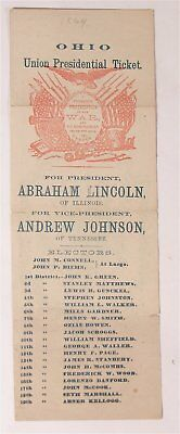 1864 Abraham Lincoln /andrew Johnson Illustrated Presidential Campaign Ballot #1