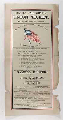 1864 Abraham Lincoln /andrew Johnson Illustrated Presidential Campaign Ballot #2