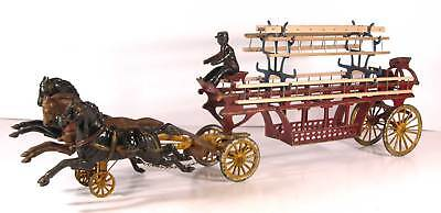 MASSIVE 1890s CAST IRON HORSE DRAWN FIRE ENGINE / LADDER TRUCK WAGON By DENT