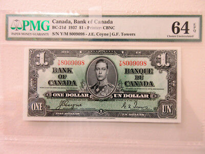 Bank of Canada 1 Dollar 1937 BC-21d PMG Gem Unc 64 EPQ Coyne & Towers S/N 800909