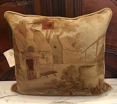 Antique Early 19C French Aubusson Textile Pillow