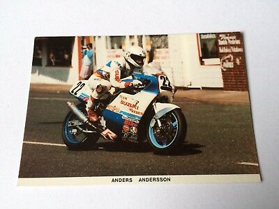Anders Andersson Collectable Vintage Postcard 1987 Manx Tt Sweden Gsxr 750