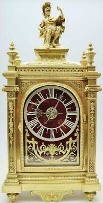 Rare Huge Antique French 8 Day Architectural Bronze Ormolu Musical Bracket Clock