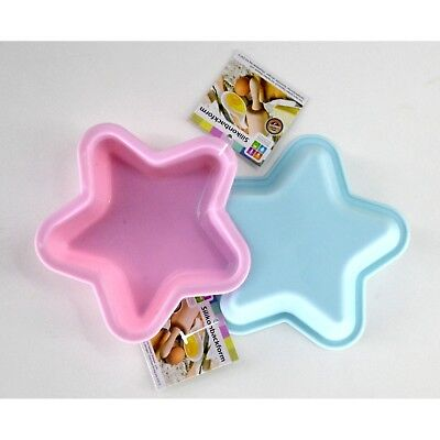 2 x Silicone Baking Pan Star Pink and Blue 13cm Cake CupCake Shape Muffin Part