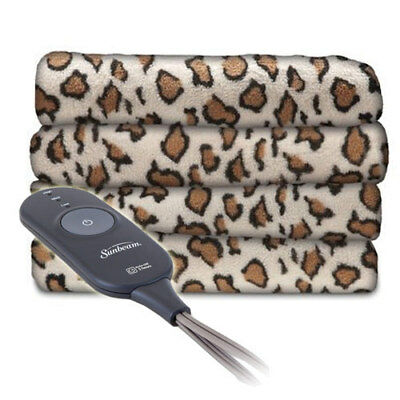 Sunbeam Microplush Electric Heated Warming Throw Blanket African Leopard