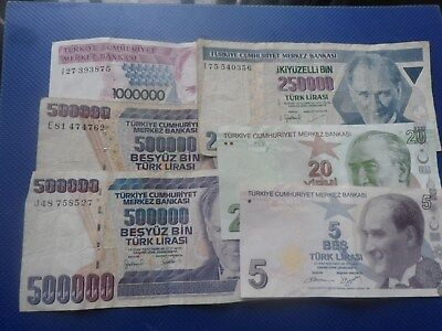 6 Banknotes Of Turkey 1970. Used.
