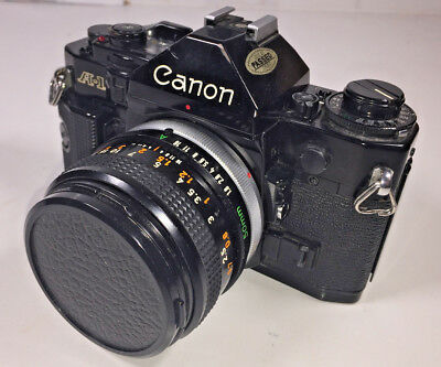 Canon A-1 35mm film SLR camera with Canon FD 50mm f1.8 standard lens & manual