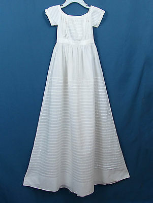 Victorian Christening Gown Antique Baby Dress -White Cotton -Pintucks -doll use