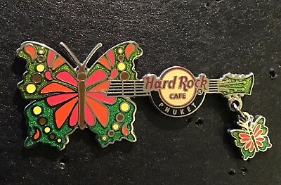 Hard Rock Cafe *PHUKET, THAILAND* HORIZONTAL BUTTERFLY WITH DANGLE GUITAR PIN LE