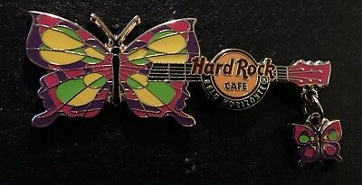 Hard Rock Cafe *BELO HORIZONTE* HORIZONTAL BUTTERFLY WITH DANGLE GUITAR PIN LE