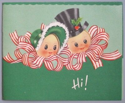 Vintage Greeting Card Christmas Cute Couple Peppermint Tibbon People Hi!