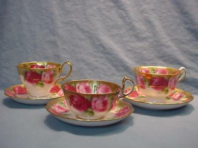 3 Royal Albert Old English Rose Teacups & Saucers