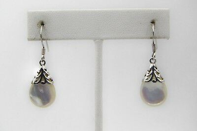 Estate Sterling Silver 925 MOP Mother of Pearl Drop Pierced Dangle Earrings